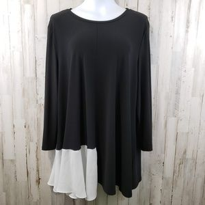 IC by Connie K Womens Top Black White Colorblock